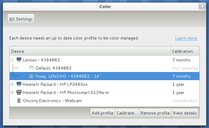 Color management in System Settings