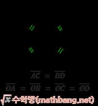 직사각형의 성질 - 대각선의 길이가 같다.