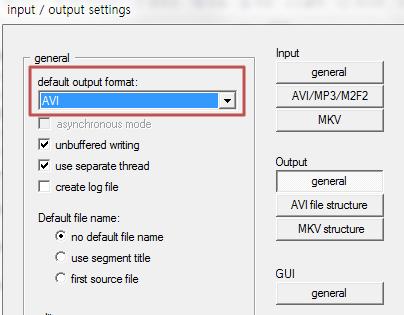 AVI-Mux GUI 설정