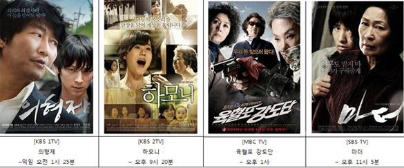 지상파 설날 특선 영화 편성표 (2월 3일 목요일)