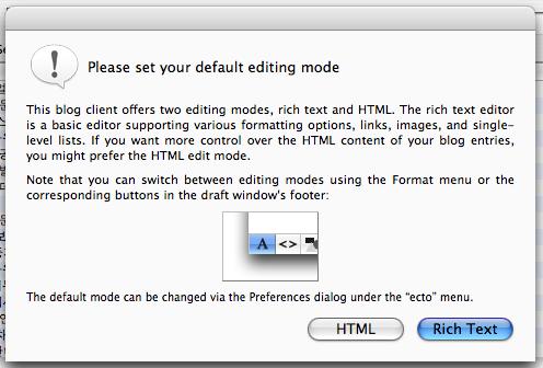 ecto editing mode 설정화면