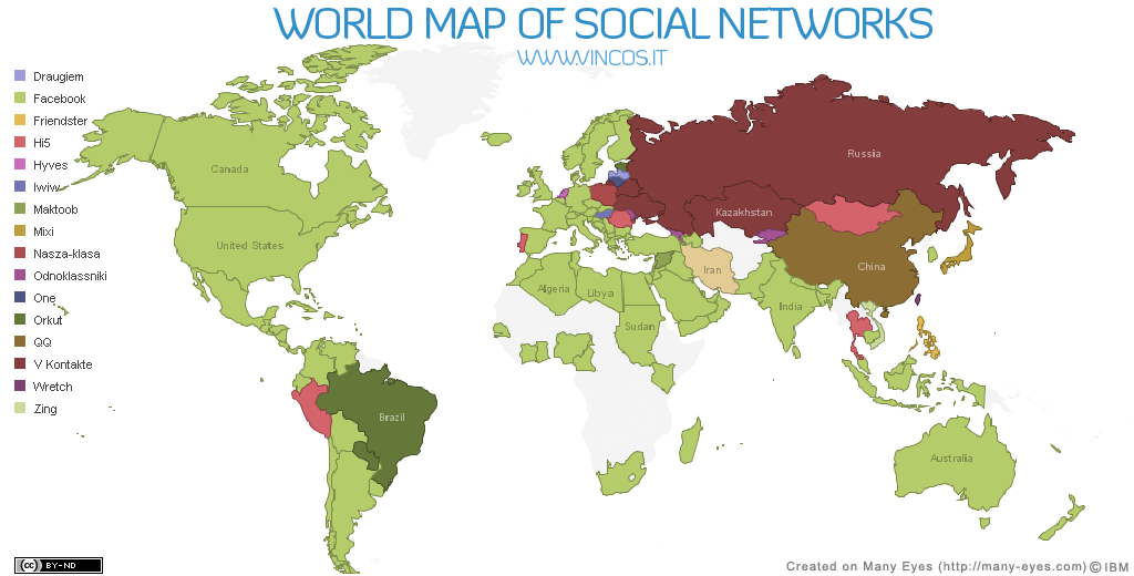 world map of social networks (SNS map) 전세계 SNS 지도