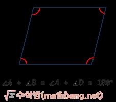 평행사변형의 성질 - 이웃한 두 각의 크기의 합은 180°