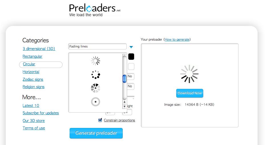 로딩 이미지 생성 사이트 - Preloaders.net