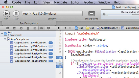 Xcode 4.3  Breakpoint 사용 및 전체삭제