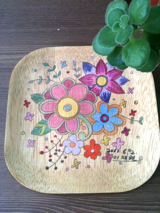 봄 - 접시에 그린 그림
