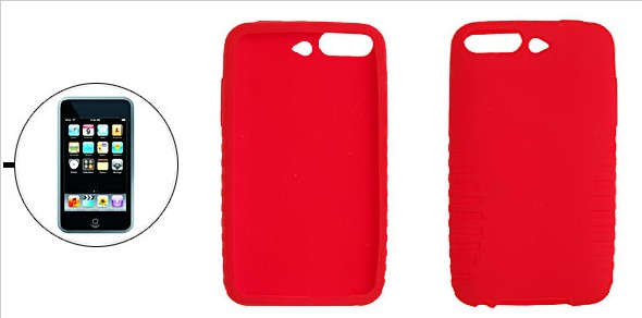 ipod touch silicone case with camera hole, red