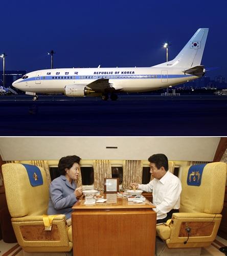 현재 B737 기종의 공군 1호기(위)와 기내에서 식사 중인 노 前대통령 부부(아래)