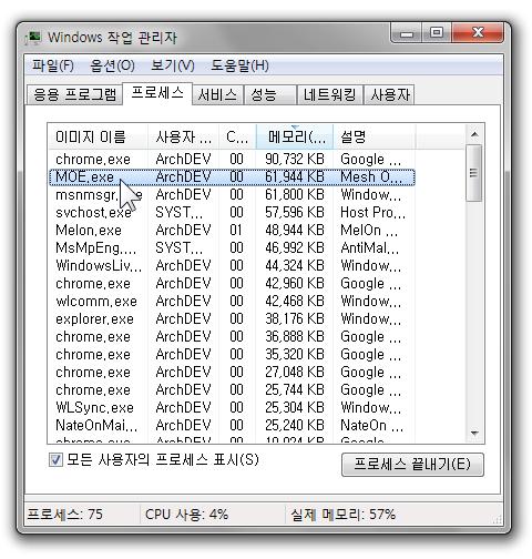 Windows 작업 관리자 – 프로세스 – MOE.exe 동작 중입니다. (61MB의 메모리를 차지하고 있군요)