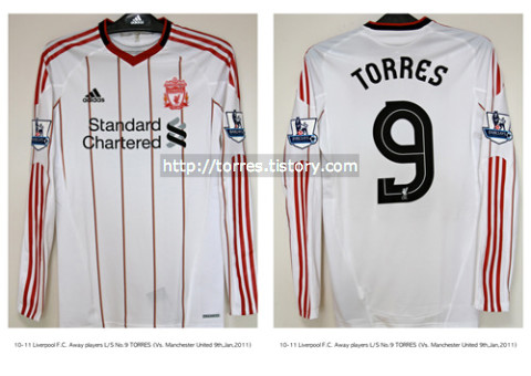 80a3979f5 Football Shirt Collection    10-11 Liverpool F.C. Away players L S No.9  TORRES (Vs.Manchester United FA Cup 9th