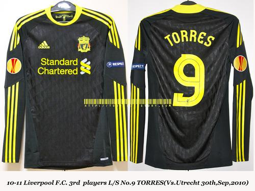 10-11 Liverpool F.C. 3rd players L/S No.9 TORRES (Vs.Utrecht 30th,Sep,2010)
