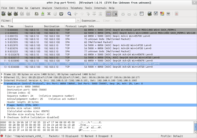 wireshark : TCP normal close