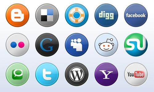 소셜 미디어 버튼들