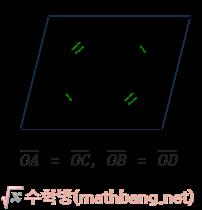 평행사변형의 성질 3 - 두 대각선은 다른 대각선을 이등분한다.