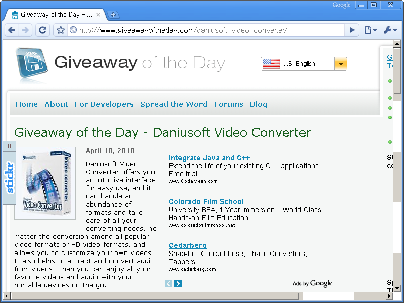 Giveaway of the Day 홈페이지 - 오늘은 Daniusoft Video Converter 프로그램이 공짜!