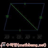 평행사변형의 성질 2 - 두 쌍의 대변의 길이가 같다.