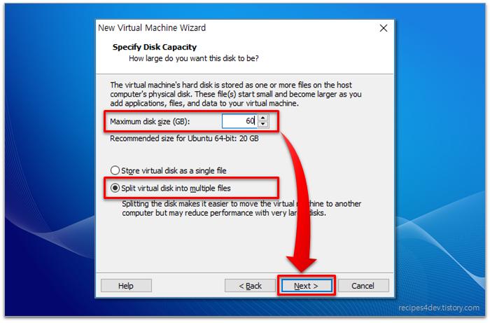 가상 머신(Virtual Machine) 디스크 용량 지정