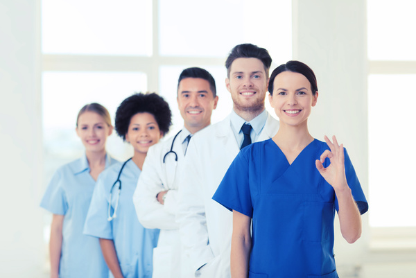 Free Stock Photo JPG file Group of happy doctors at hospital Stock Photo 01