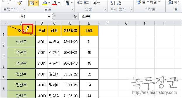 엑셀 Excel 셀에 대각선 긋기, 사선을 그어서 제목 분리하는 방법