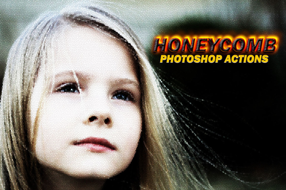 3 가지 무료 벌집 효과 포토샵 액션 - 3 Free Photoshop Honeycomb Effect Actions