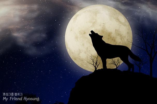 달밤, 산에서 울부짖는 늑대