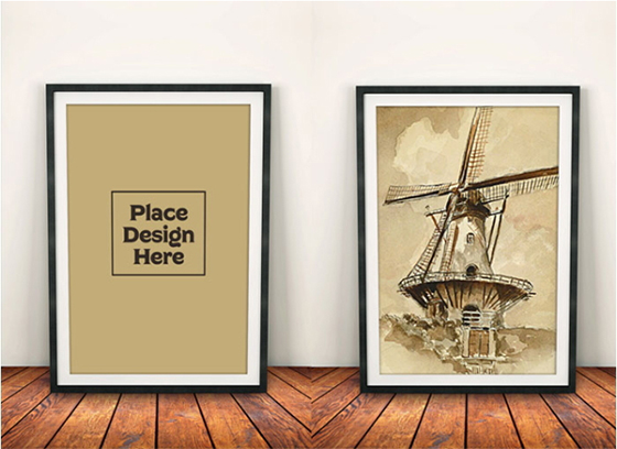 Free Photo Frame Mock-up on Wooden Background PSD