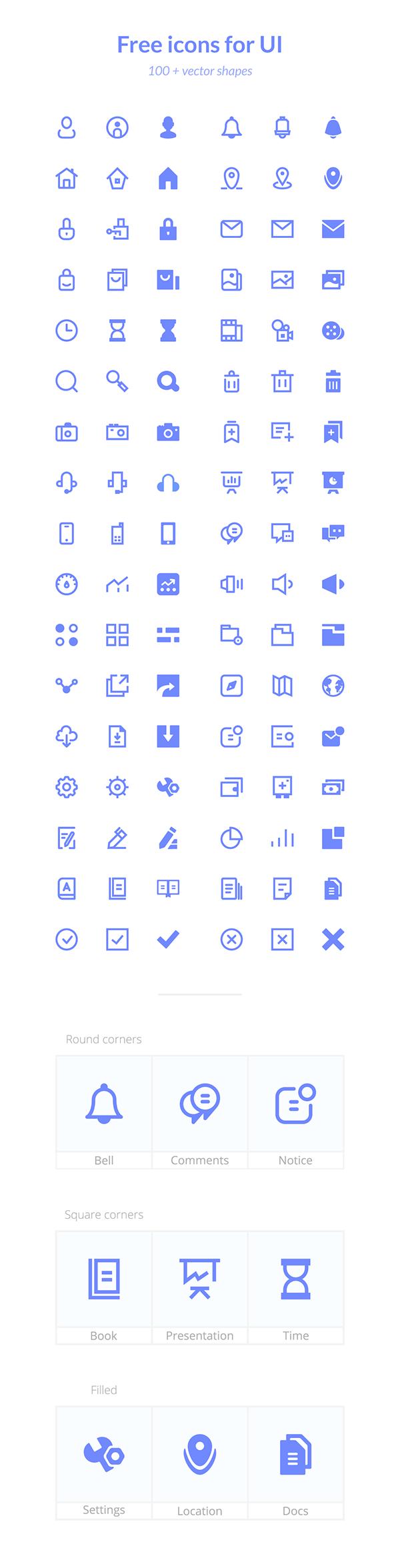 100 가지 이상의 무료 UI 벡터 아이콘 - 100+ Free Vector Icons For UI