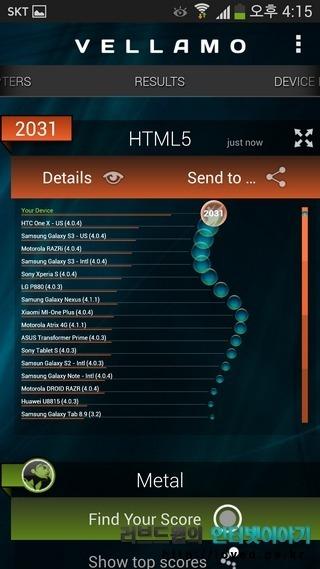Vellamo 갤럭시S4 성능 벤치마크 점수