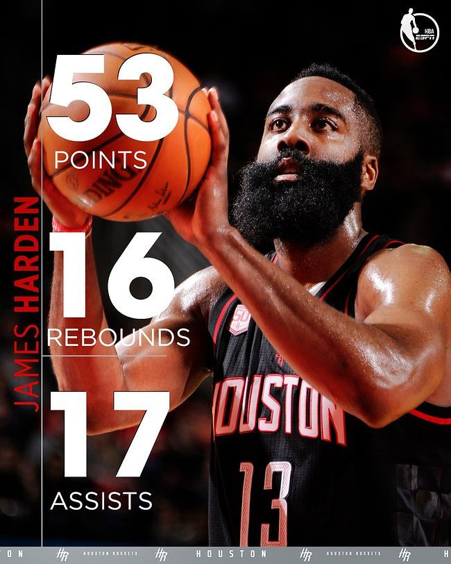 James  Harden incredible records 53p/16r/17a 2016-12-31