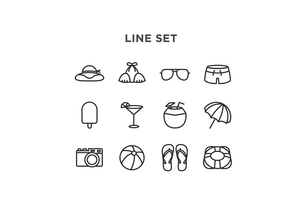24 가지 무료 벡터 라인 & 컬러 여름 아이콘 - 24 Free Vector Line & Color Summer Icons