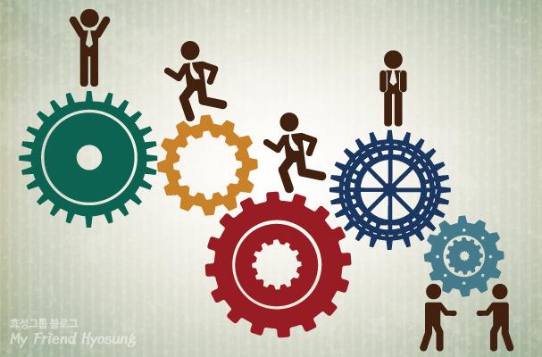 자유롭게 자신의 자리에서 일하면서 서로에게 시너지효과를 주는 톱니바퀴 일러스트입니다.