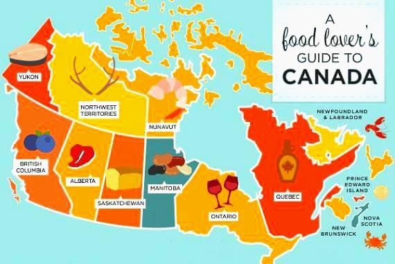 캐나다 지역 특산물 지도입니다