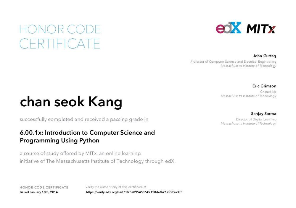 Mooc Certificate Introduction To Computer Science And Programming
