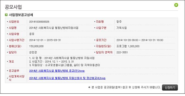 [광주사회복지공동모금회] 2014년 사회복지시설 월동난방비지원사업