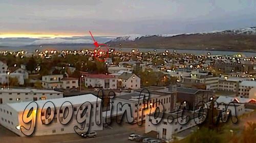 하늘에서 내려온 불덩어리, 아이슬란드 UFO,             주택가로 떨어지는 모습
