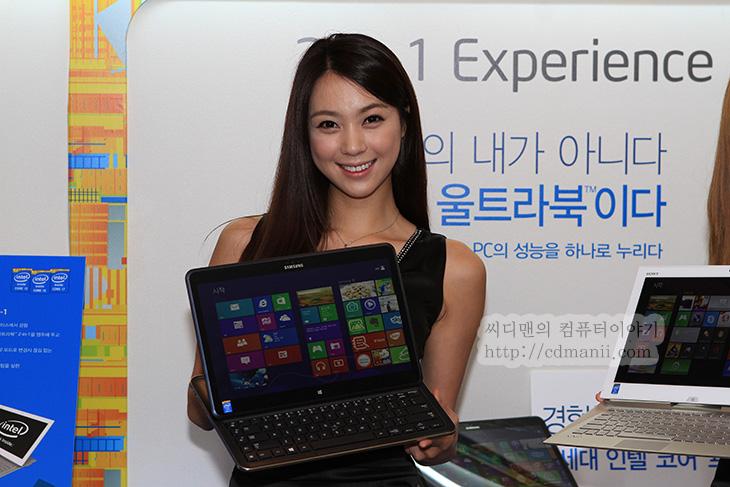 3200x1800, Ativ Q, AtivQ, It, samsung, 동영상, 리뷰, 사용기, 삼성 아티브Q 사용기, 삼성 아티브Q 스펙, 삼성 아티브Q 해상도, 스펙, 아쉬움, 해상도, 해상도 아쉬워, 후기, 4세대 코어 프로세서, 4세대 인텔 코어 프로세서, 삼성 아티브Q 바이오 듀오 13 노트북들은 인텔 4세대 코어 프로세서를 탑재한 하스웰 노트북들입니다. 이번에 인텔에서 4세대 코어 프로세서 발표회를 하면서 개인적으로는 가장 기대되는 부분은 노트북 부분입니다. 삼성 아티브Q 경우에는 공개만으로도 많은 분들이 관심을 표하고 있죠. 전력소모량은 기존대비 더 줄어들고 내장그래픽의 성능은 더 올라가서 울트라북이라는 이름에 좀 더 힘을 받을 듯 합니다. 4세대 코어 프로세서 하스웰 데스크탑 CPU 경우에도 제가 써보고 있지만, 내장그래픽의 성능이 많이 올라갔고 칩셋이 8시리즈로 올라가면서 효용성이 좀 더 커졌습니다. 내장그래픽으로도 3대의 모니터를 연결할 수 있으며 S-ATA3는 10개까지 사용이 가능 합니다. 노트북은 좀 더 노트북 다워지고 데스크탑도 고성능과 확장성을 두고 본다면 좀 더 발전이 있었는데요. 이번 4세대 코어 프로세서 발표회에서는 좀 더 체계적이고 재미있는 데모를 볼 수 있었습니다.