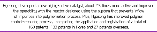 Hyosung developed a new highly-active catalyst, about 2.5 times more active and improved the operability with the reactor designed using the system that prevents inflow of impurities into polymerization process. Plus, Hyosung has improved polymer control-ensuring process, completing the application and registration of a total of 160 patents - 133 patents in Korea and 27 patents overseas.