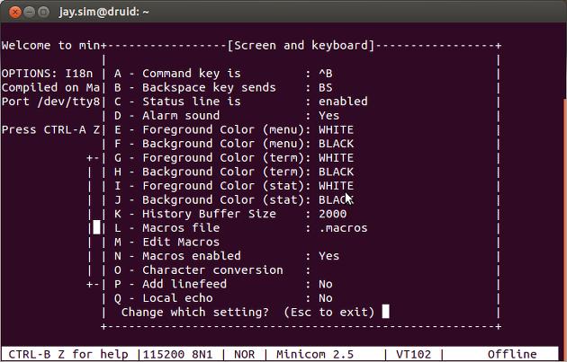 Ubuntu] minicom serial 설정