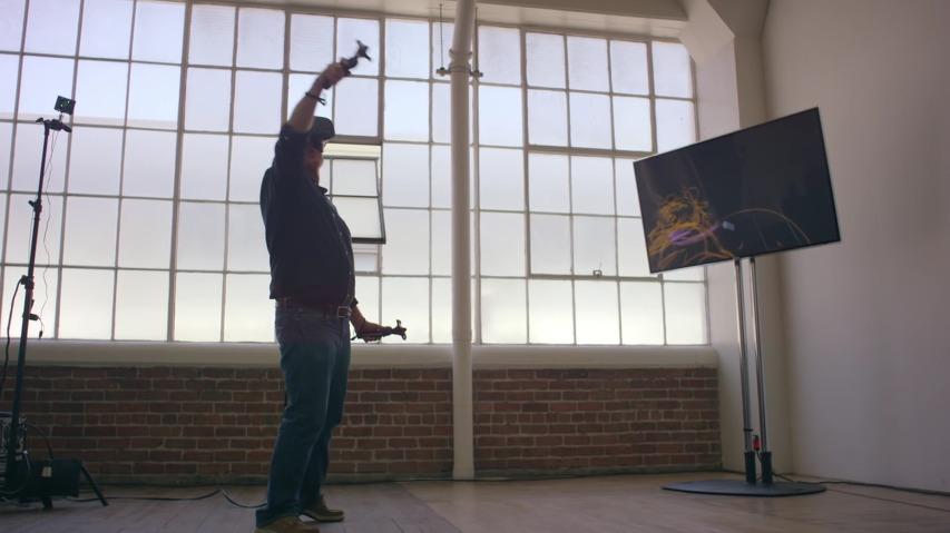 VR(Virtual Reality/가상현실)을 활용하여 허공에다 입체적인 3D 캐릭터를 그린다, 'The Future of StoryTelling Summit'을 위해 디즈니 수석애니메이터 출신 글렌 킨(Glen Keane)이 소개하는 Step into the Page 영상.