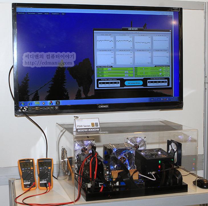 탑파워 PSMI 시리즈, 탑파워 PSMI, PSMI, 탑파워, TOPOWER, 1000W, 튜닝, 전압, 플루크, 컴퓨텍스 2013, 전력, 가용력, 조정, IT, 파워서플라이, 파워서플라이 추천,탑파워 PSMI 시리즈 1000W도 직접 보고 Topower만 가지고 있는 특허기술들도 살펴보았습니다. 이번에 컴퓨텍스 2013에 가서는 파워서플라이사들도 여러곳을 둘러보았는데요. 물론 시간이 부족해서 모두 다 본것은 아니지만 특히 탑파워 PSMI 시리즈는 사용자가 임의로 전압 및 팬 RPM을 조정할 수 있다는점 전력 가용력을 조절할 수 있다는점에서 특별했습니다. 이제 파워 튜닝도 직접 할 수 있게 되었습니다. 전압을 임의로 조절하는 기능은 PSMI 시리즈가 처음은 아닙니다만, 프로그램을 통해서 파워서플라이 내에서의 전력사용량 , 전압, RPM 등을 실시간으로 확인하고 조정을 프로그램으로 하는것은 처음일듯하네요. 지금은 프로그램을 통해서 확인하도록 되어있지만 나중에는 컨트롤 패널이 따로 나왔으면 하는 바램도 있네요.