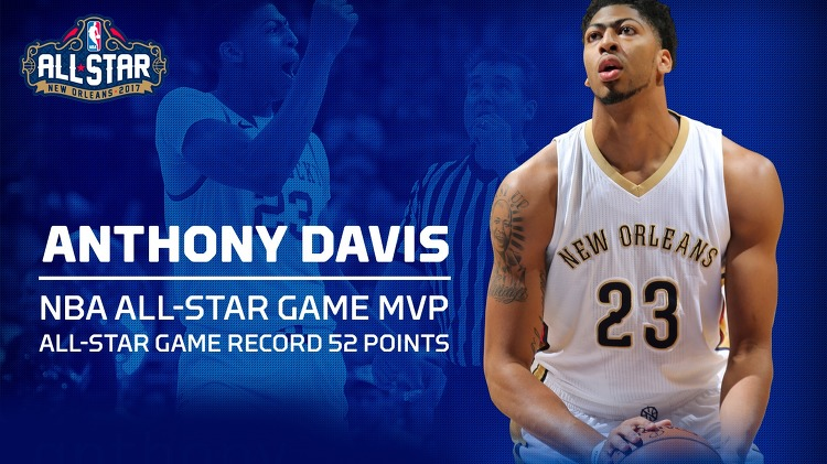 NBA 2017 All Stars MVP, Anthony Davis, New Orleans Pelicans