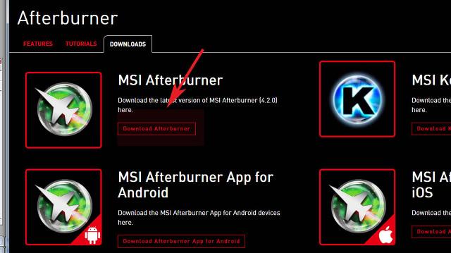 컴퓨터 온도측정 msi Afterburner 최신판 사용방법