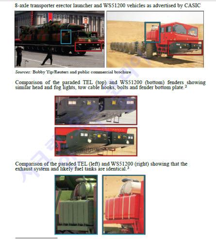 북한이동식미사일발사대차량, 중국차량과 대조사진
