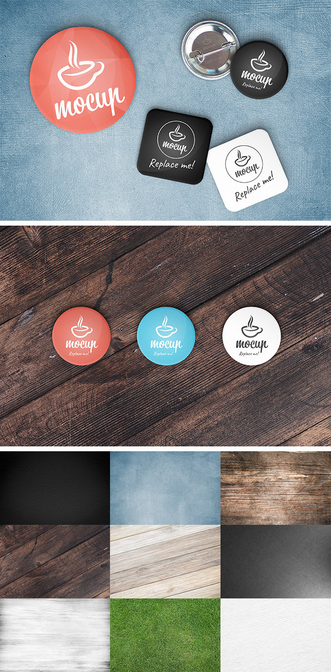 무료 버튼 뱃지 목업 PSD - Free Button Badge Mockup PSD