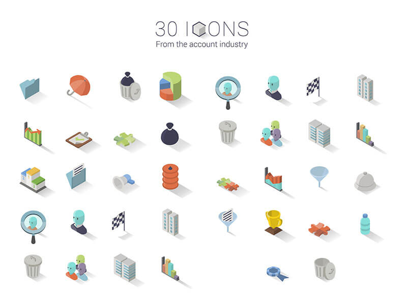 30 Isometric Icon Set
