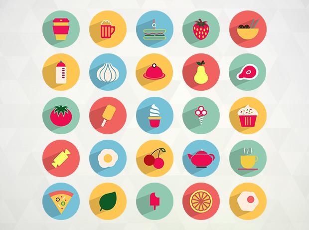 50가지 컬러풀 플랫 음식 + 음료 벡터 아이콘 - 50 Free Vector Food & Drink Flat Icons