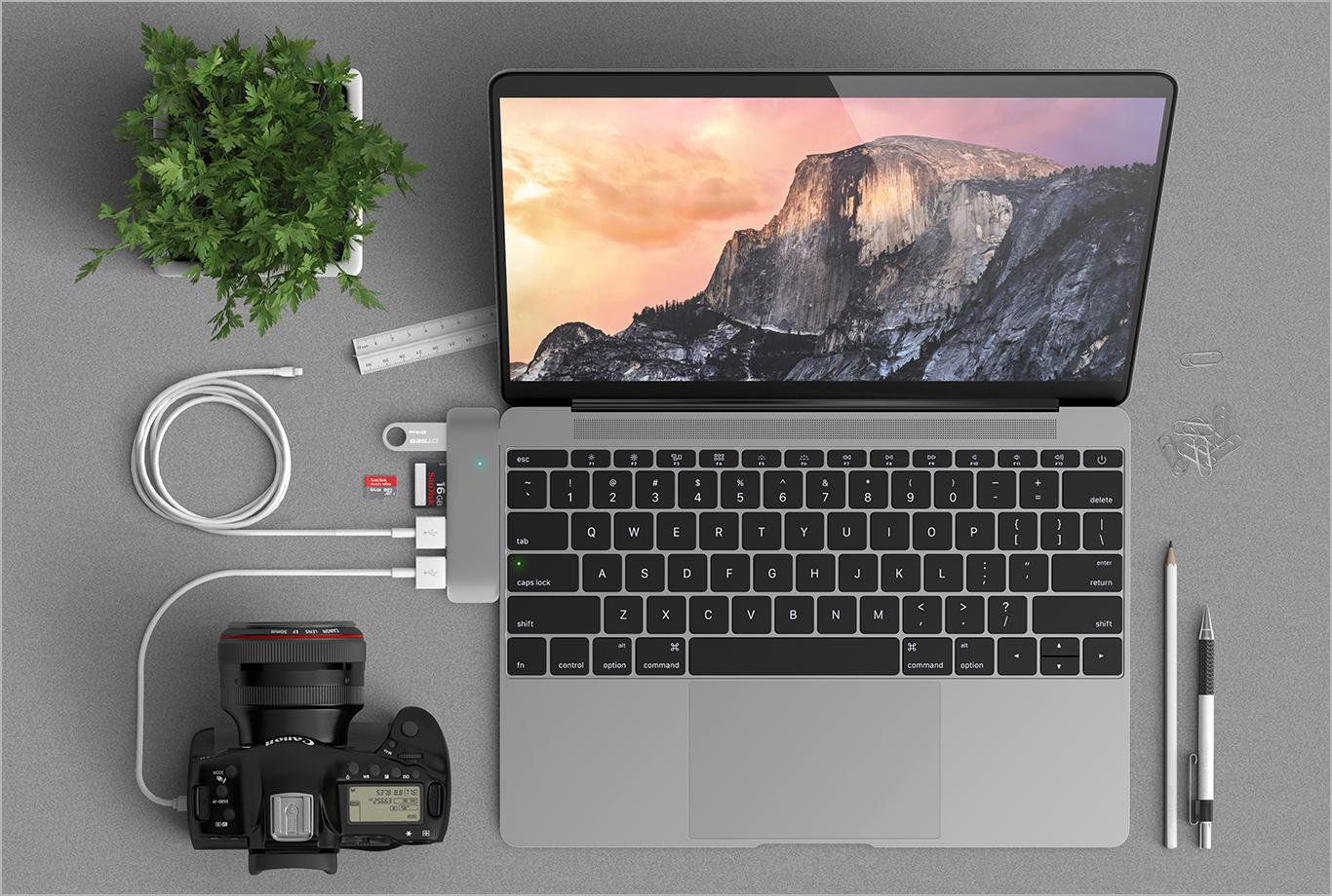 맥북 사용자를 위한 손가락만한 USB-C 허브... 'Satechi 3 in 1 Combo Hub'