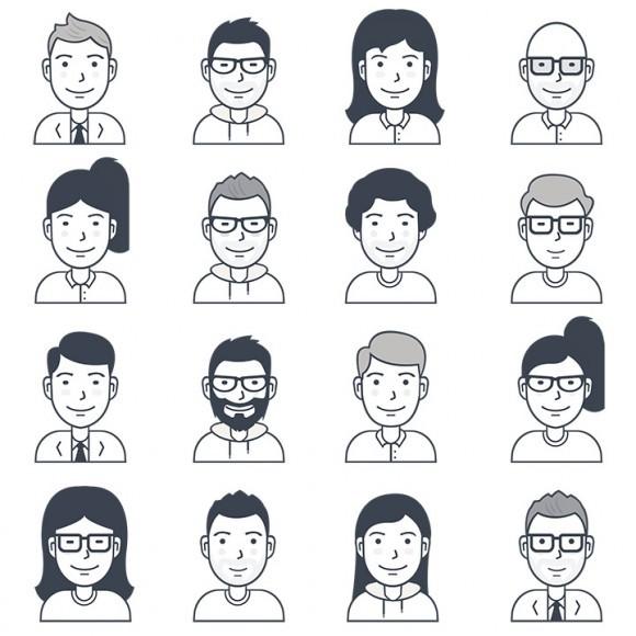 16 가지 무료 벡터 아바타/인물/사람 아이콘 - 16 Free Vector Avatar/People Icons