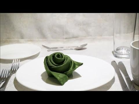 테이블 장식 천 냅킨 장미 종이접기 동영상