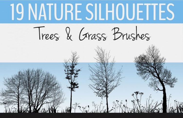 19 가지 나무와 풀(trees & grass) 실루엣 포토샵 브러쉬 - 19 Free Trees & Grass Brushes Photoshop Brushes